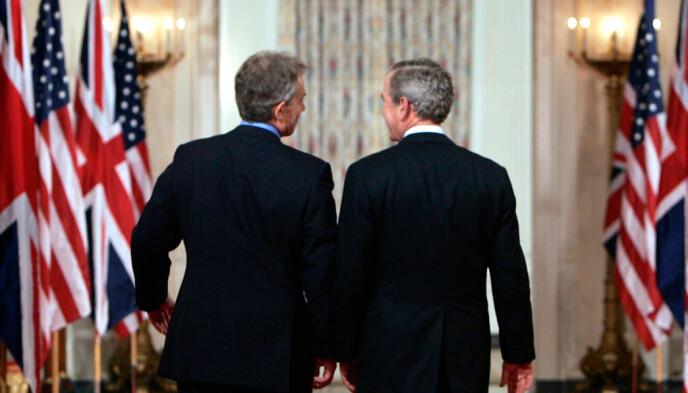 VILJE OG EVNE: At vi var i Afghanistan i 20 år, og ikke i to, skyldes langt mer folk som Tony Blair (t.v.), enn kortsiktige folk som George W. Bush (t.h.). Europeere hadde en sterk vilje til å gjøre noe substansielt for afghanerne, men hadde ikke tilstrekkelig evne. Amerikanerne hadde evne, men ikke tilstrekkelig vilje, skriver innsenderen. Foto: Kevin Lamarque / Reuters / NTB