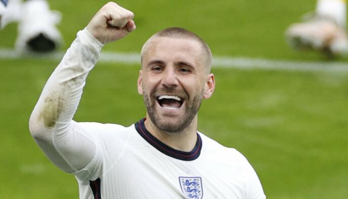 GRYENDE FORM: Luke Shaw var involvert i begge scoringene til Three Lions sist. Foto: Reuters
