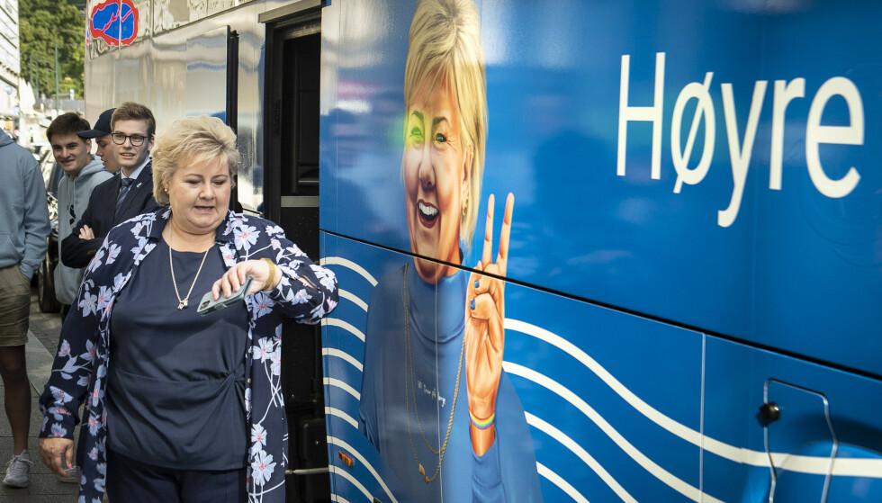 VALGKAMPTURNE: Erna Solberg er i disse dager på sin første valgkampturné på Øst- og Sørlandet. Foto: Lars Eivind Bones / Dagbladet