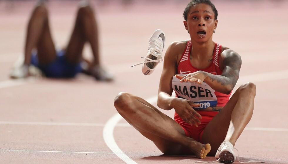 VELDIG OVERRASKET? Salwa Eid Naser stusser på sjokktida som ga VM-gull i 2019. Nå er hun utestengt for brudd på dopingreglene. FOTO: AFP/ Karim Jaafar.