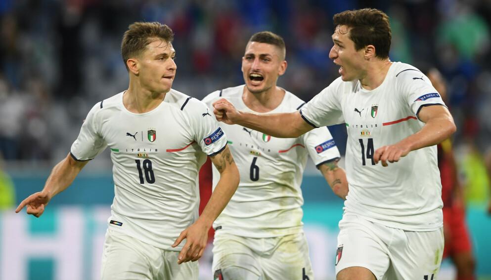 ITALIENSK JUBEL: Italia har imponert i EM og møter Spania i semifinalen. Foto: REUTERS/Christof Stache/NTB