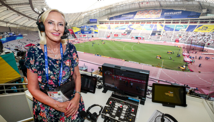 Profile: Karen-Mary Elefsen has worked at NRK since 1973.  Here in 2019 from Doha WC.  Photo: Liz Åserud / NTB