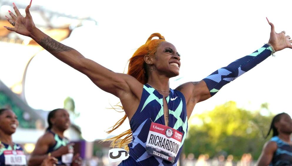 MÅ BLI HJEMME: Sha'Carri Richardson får ikke delta i OL. Foto: Kirby Lee/USA Today/TPX/NTB