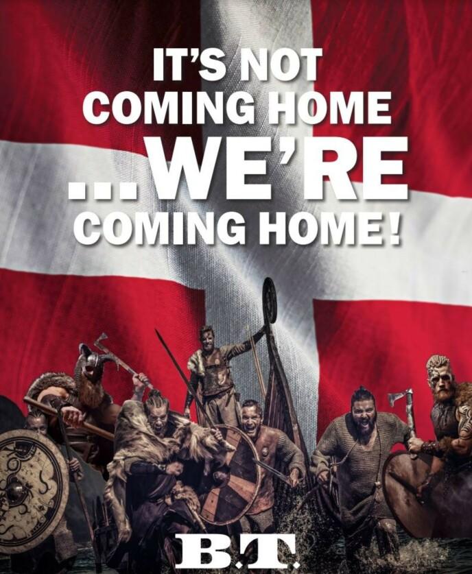 VIKINGER: Slik så den danske reklamen i The Sun ut. Foto: B.T.