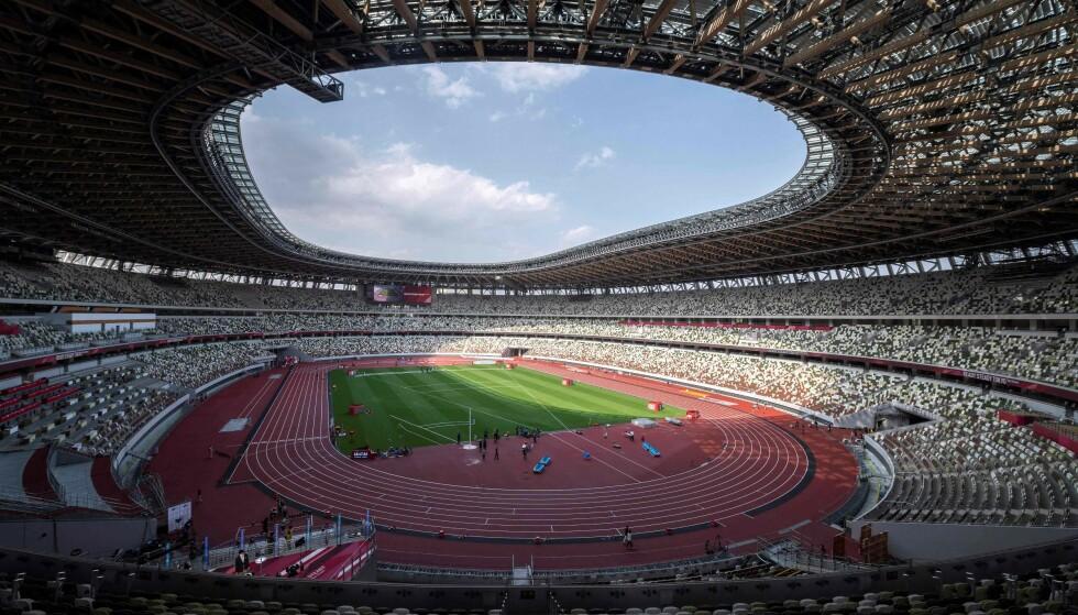 FOLKETOMT: Det vil være lite tilskuere inne på den olympiske stadion i Tokyo under OL. Foto: AFP