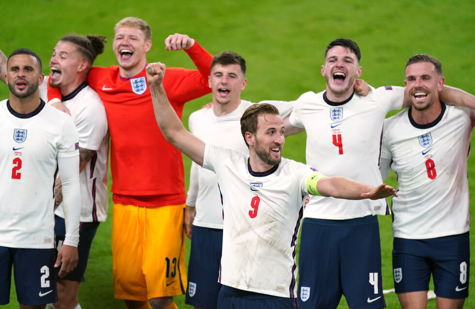 England's Harry Kane and team-mates celebrate winning the UEFA Euro 2020 semi final match at Wembley Stadium, London. Picture date: Wednesday July 7, 2021.