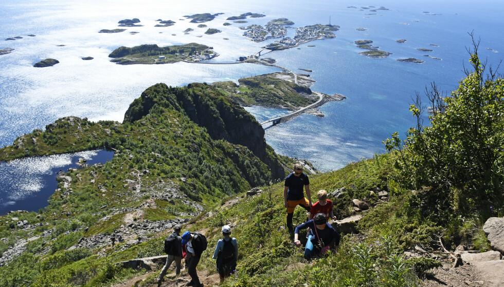 DØDSULYKKER: Lofoten har blitt et populært turistmål de siste åra. Lensmannen i Vest-Lofoten sier at de har flere dødsfall i fjellet enn i trafikken. Foto: Rune Stoltz Bertinussen / NTB