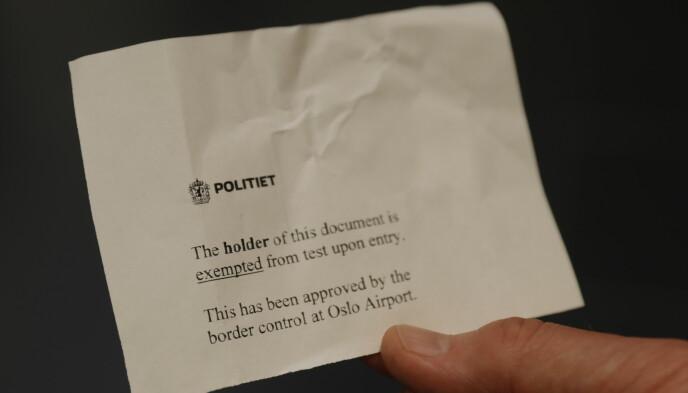 EXEMPTED: Unntatt fra test ved ankomst. Det er nøkkelbudskap fra politi og grensekontroll - god tur hjem. Foto: Nina Hansen / Dagbladet.