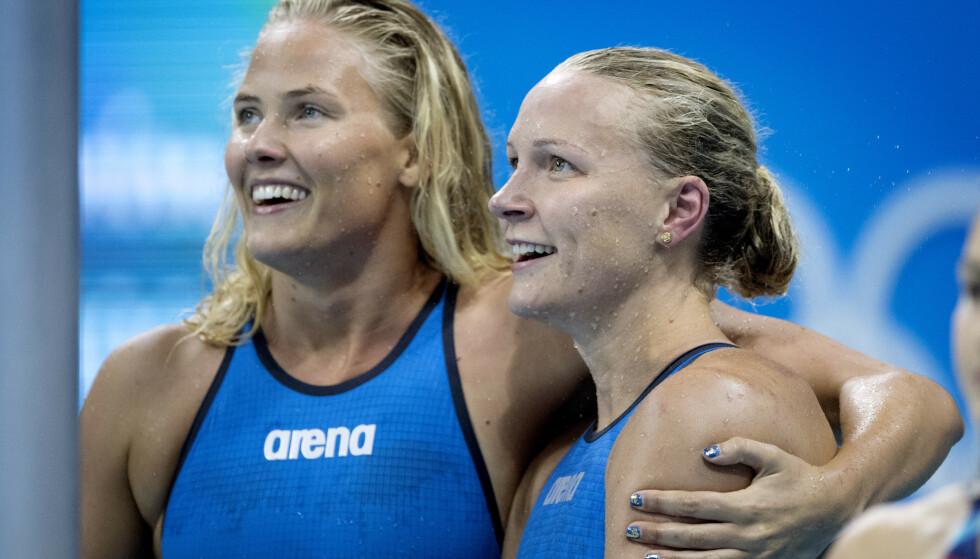 VISSTE IKKE: Michelle Coleman og Sarah Sjöström kunne gjerne ønsket at det var en McDonalds tilgjengelig i OL-byen. Foto: NTB