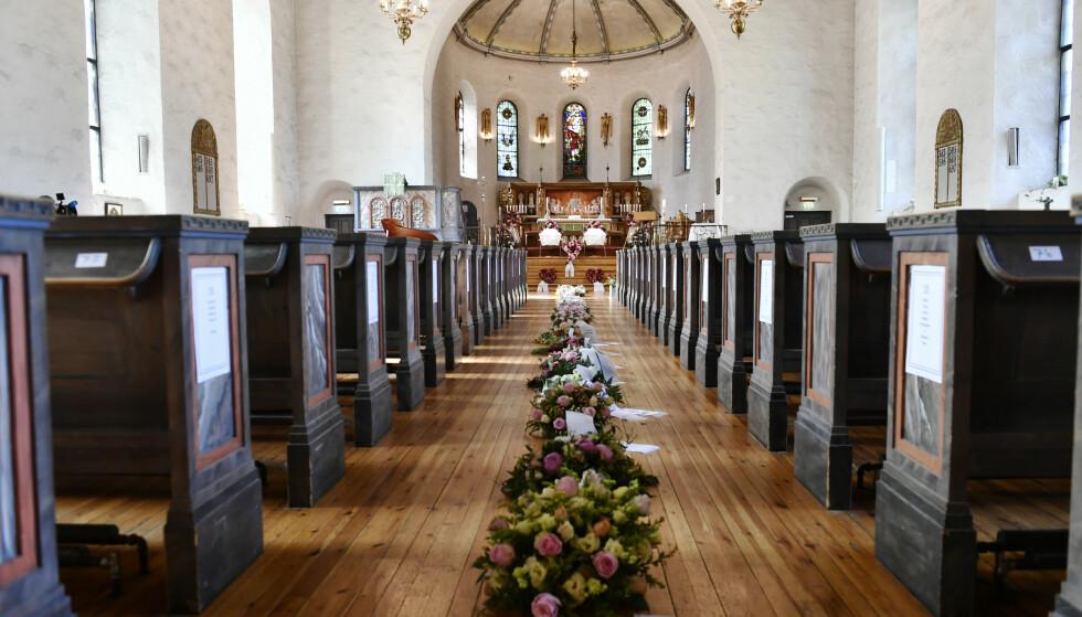 KIRKA: Begravelsen holdes i Ris Kirke i Oslo. Foto: Lars Eivind Bones / Dagbladet.