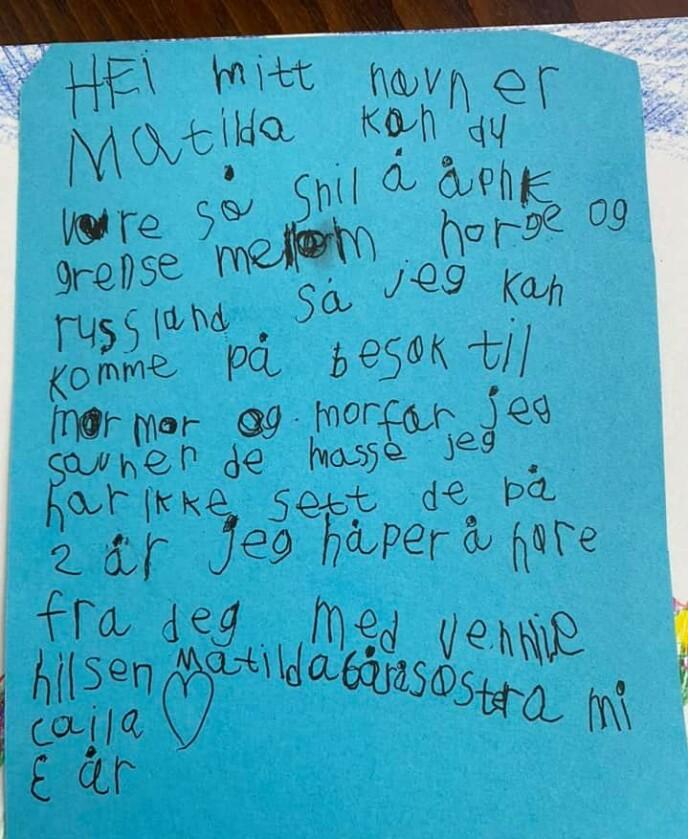 SKREV BREV: Her er Matildas fulle brev. Kommer hun til å høre fra statsministeren? Foto: Privat