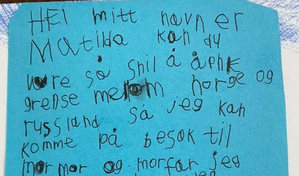 SENDTE BREV: Marina Marmilova Karlssons datter Matilda (6) skrev nylig dette brevet til Erna Solberg. Nå håper seksåringen på svar. Les det hjerteskjærende brevet lenger nede i teksten. Foto: Privat