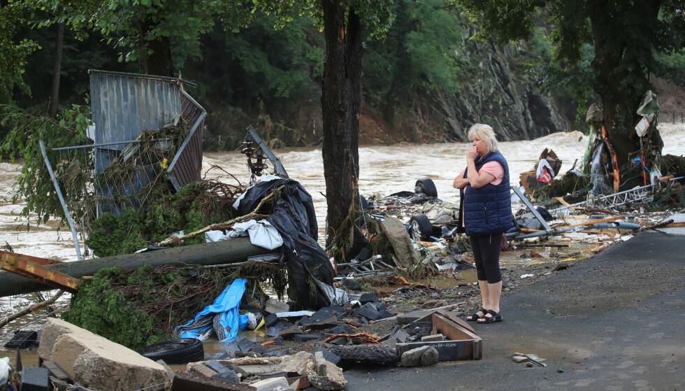 STORE ØDELEGGELSER: Flommen har ført til store ødeleggelser i både Tyskland og Belgia. Her fra elva Ahr i Tyskland. Foto: Reuters / NTB