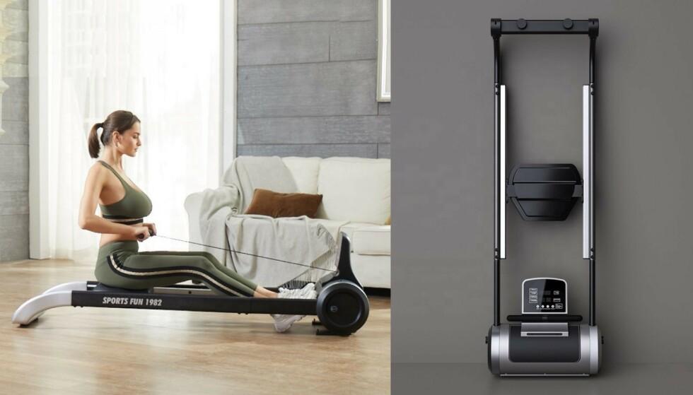 Den lette romaskinen kan plasseres opp mot veggen når den ikke er i bruk.