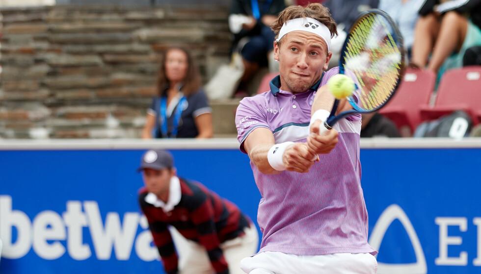 KONTROLL: Casper Ruud hadde god kontroll på argentinske Federico Coria i finalen av Nordea Open i Båstad.Foto: Anders Bjurö /TT / NTB