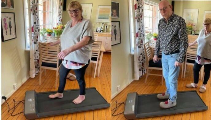 Bjørn Andersen og kona bruker WalkingPad A1 flittig hjemme i huset i Son.