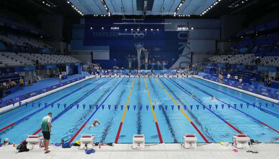 DELTAKELSE: De tre danske svømmerne får ikke deltatt i Tokyo-OL. Foto: AP/NTB