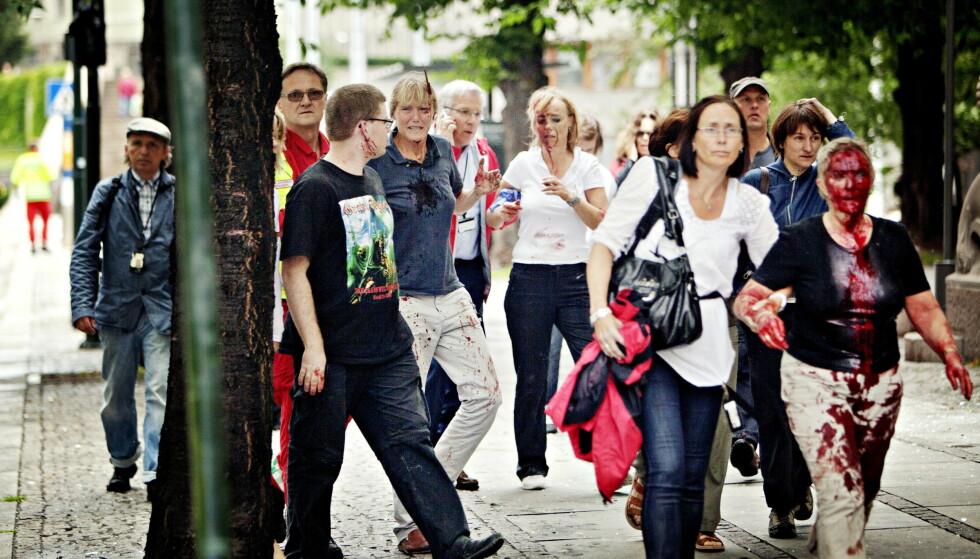 SPLINT: Da Line Nærsnes kom ut av regjeringskvartalet 22. juli for ti år siden, sto en del av vinduskarmen ut av panna hennes. Foto: Torbjørn Grønning / Dagbladet