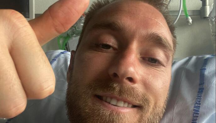 Bene: Christian Eriksen, quando era in ospedale.  Foto: AFP