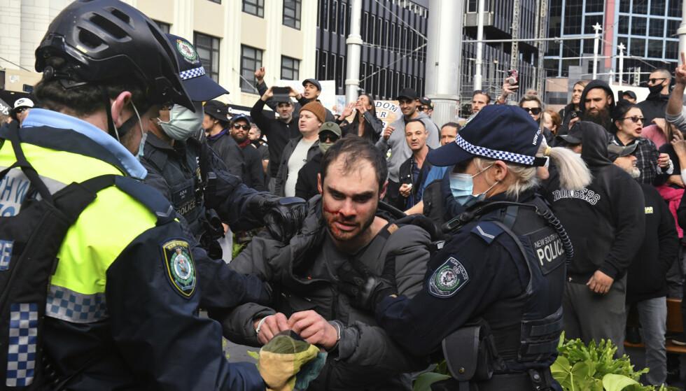 APPELS : 57 personnes ont été arrêtées après la manifestation de samedi à Sydney.  Photo : Mick Tsikas / AAP / AP / NTB