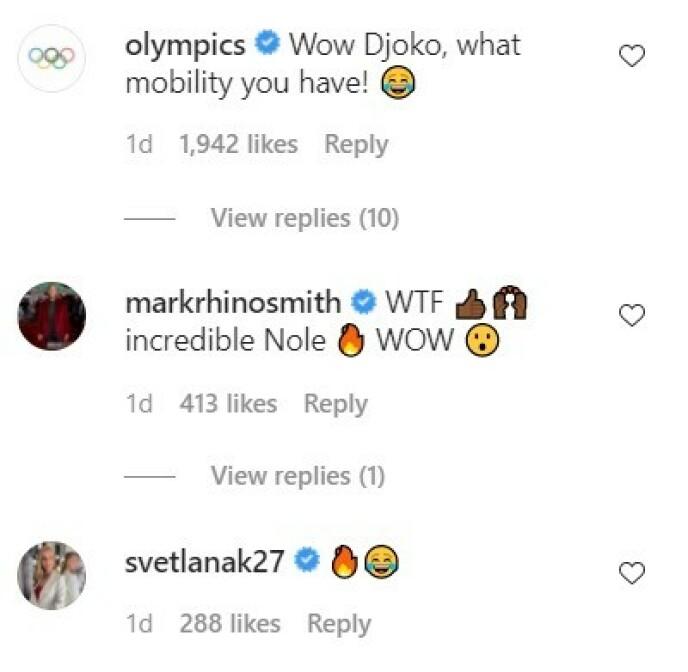 KOKER: Flere profiler har kommentert på Djokovics spagat. Foto: Instagram/Skjermbilde