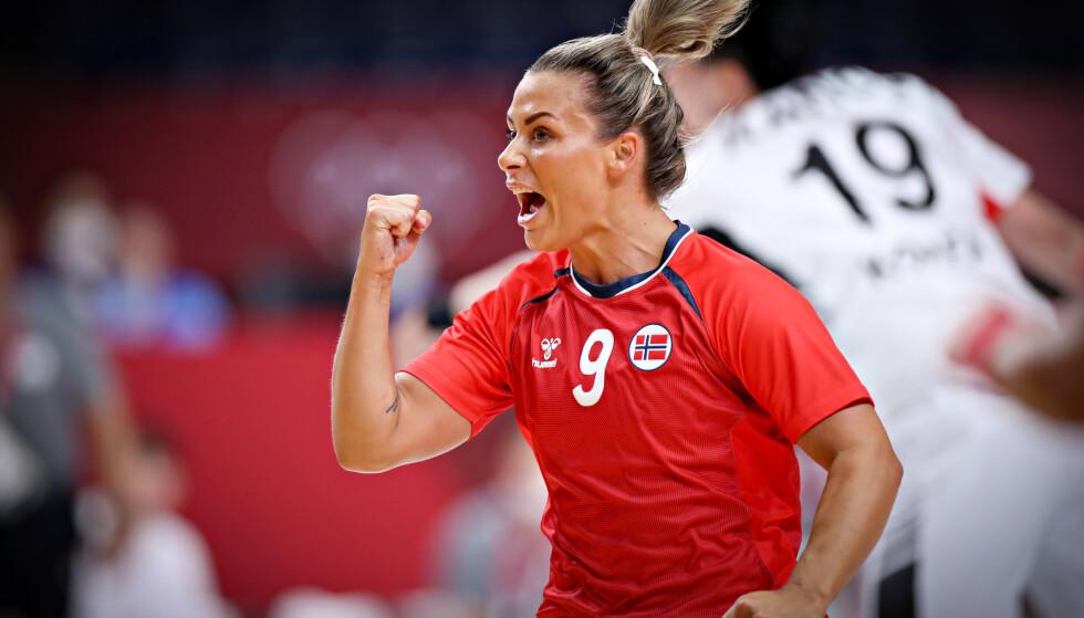 GLADNYHET: Nora Mørk jublet for scoring i OL-åpningen mot Sør Korea. Foto: Bjørn Langsem / Dagbladet