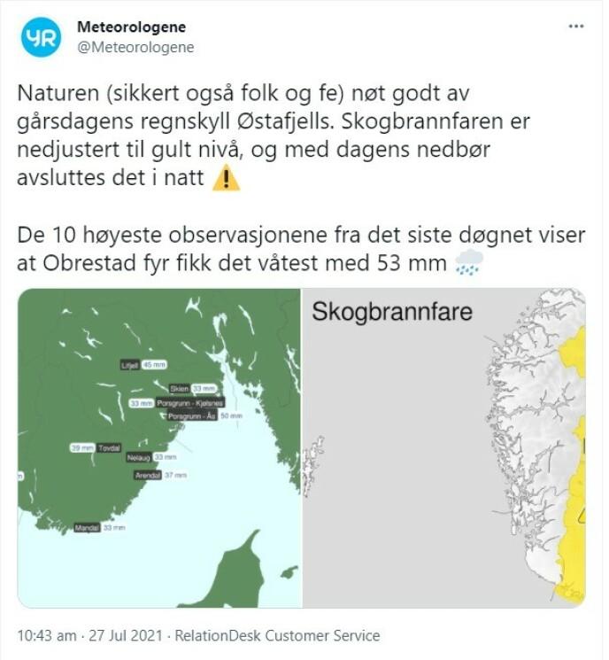 SKOGBRANNFARE: Det er sendt ut farevarsel for skogbrann, men dette skal avta i løpet av natta, ifølge Meteorologene. Foto: Meteorologene/Twitter
