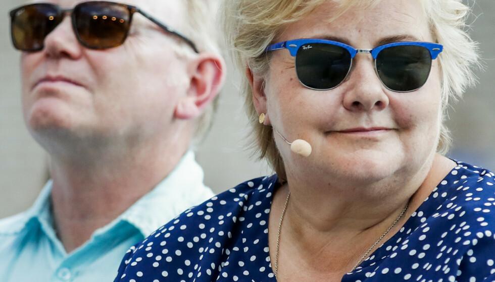 KLAR FOR KAMP: Statsminister Erna Solberg og hennes mann Sindre Finnes under Høyres valgkampåpning i Trondheim. Foto: Beate Oma Dahle / NTB