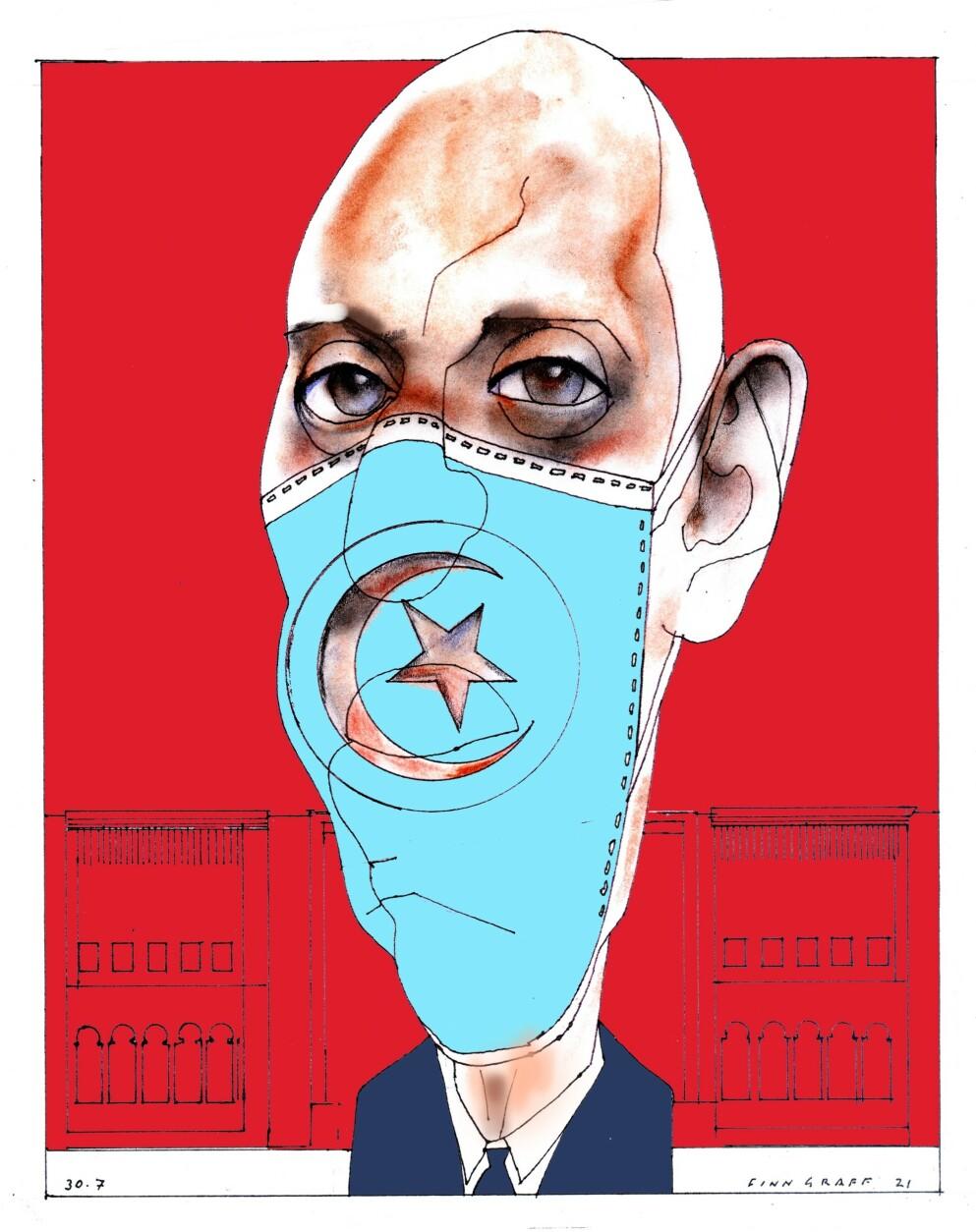PRESIDENTEN: Kaïs Saïed er president i Tunisia og omdreiningspunktet i krisa landet nå står i. Tegning: Finn Graff