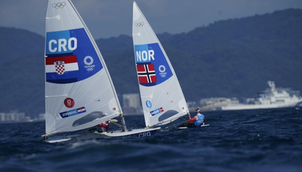 DUELL: Det ble kamp mellom Norge og Kroatia for OL-sølvet. Den duellen vant kroaten. Foto: NTB