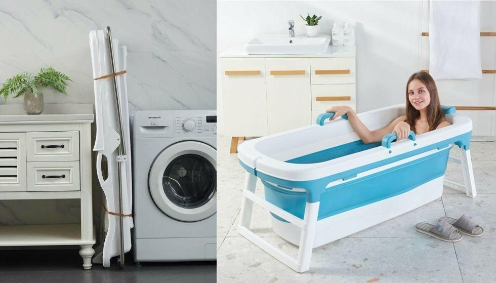 De sammenleggbare badekarene tar minimalt med plass når de ikke er i bruk.