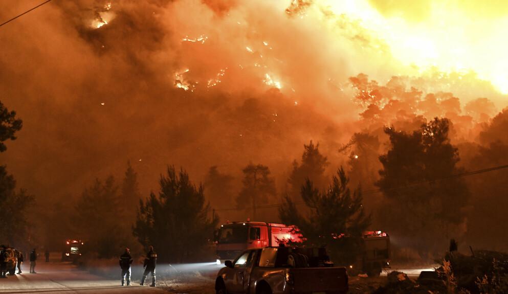 BRANN: De ekstreme temperaturene har ført til flere skogbranner i blant annet Hellas og Tyrkia. Foto: Valerie Gache