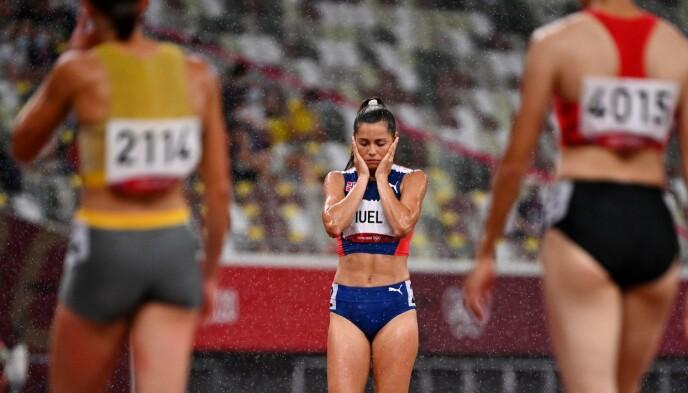 DRØMMEN KNUST: Amalie Iuel drømte om finale på 400 meter hekk. Slik gikk det ikke. Foto: NTB