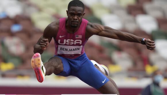 LETT SOM LUFT: Rai Benjamin har benyttet seg av Nikes nye teknologi. AP Photo/Martin Meissner