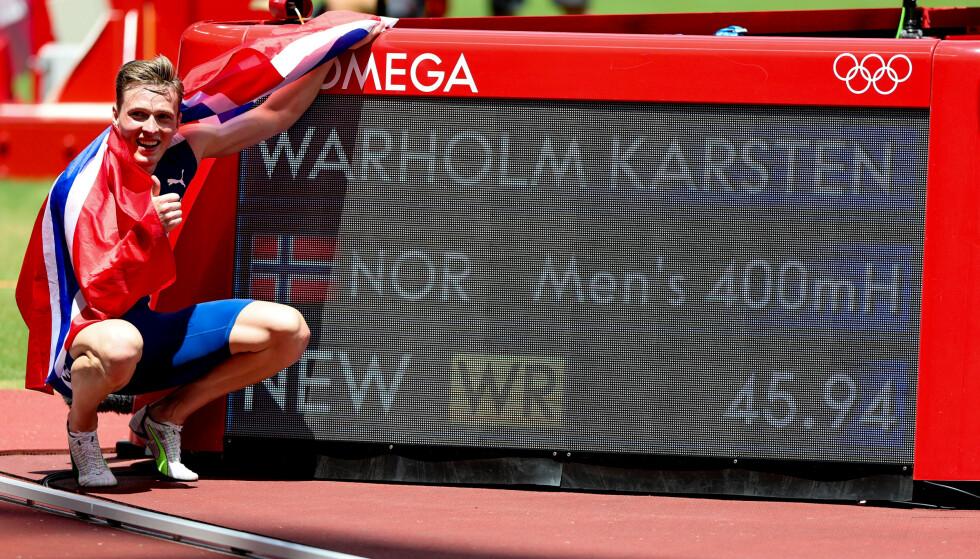 SJOKK: Karsten Warholm sjokkerte en hel idrettsverden med nok en ny verdensrekord på 400 meter hekk. Foto: Bjørn Langsem