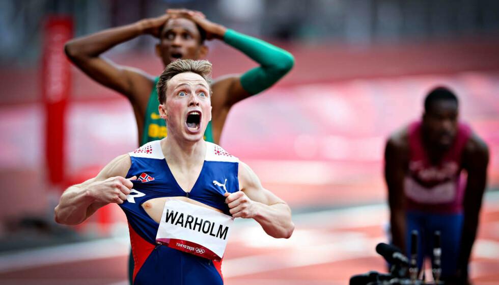 OVERLEGEN: OL-gull og verdensrekord ble fasit for Karsten Warholm etter 400 m hekk. Foto: Bjørn Langsem / Dagbladet