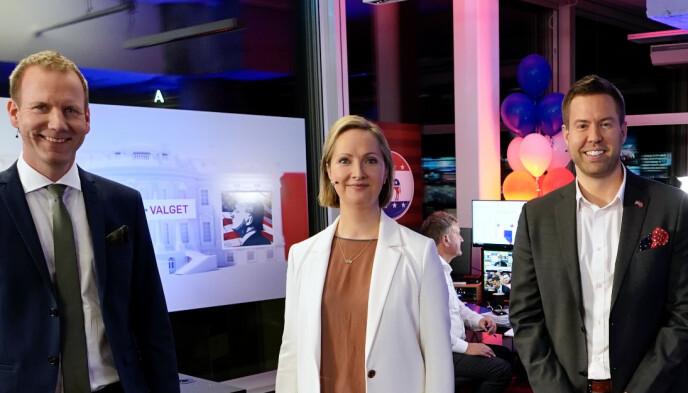 - IKKE VELDIG IMPONERT: USA-ekspert Hilde Restad er enig med det norske folks dom over Trump. Her med Eirik Bergesen og Thor Steinhovden under TV 2s valgdekning i fjor. Foto: Foto: Robert Reinlund / TV 2 / NTB