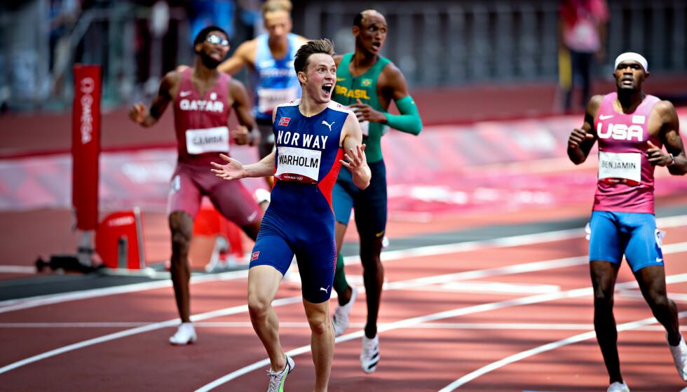 OVERLEGEN: OL-gull og verdensrekord til Karsten Warholm på 400 m hekk. Foto: Bjørn Langsem / Dagbladet
