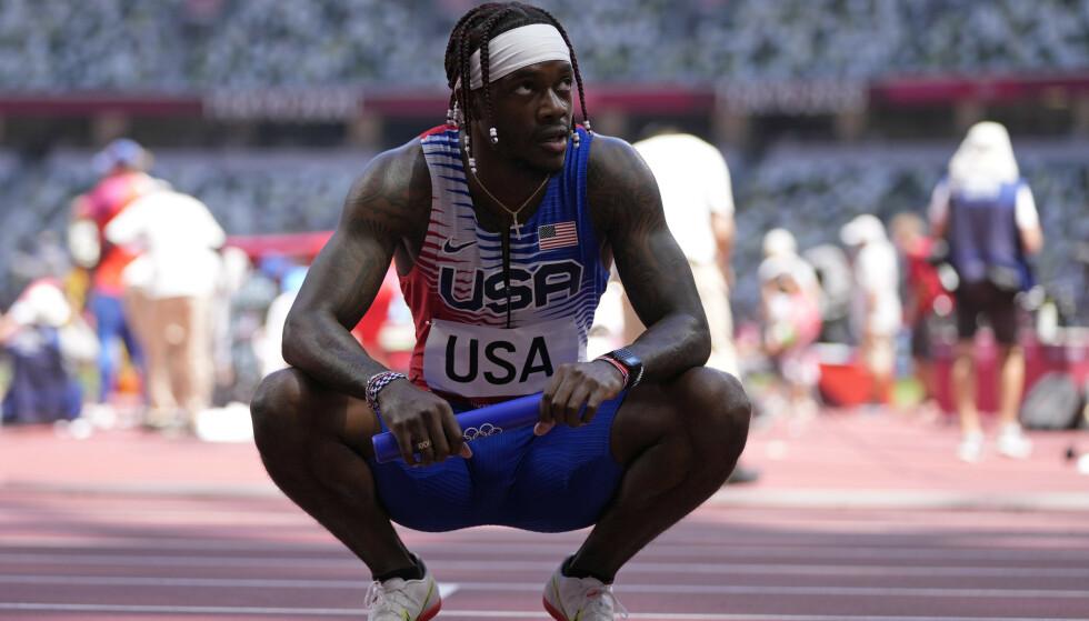 SKUFFET: Cravon Gillespie løp den siste etappen for USA. Foto: AP