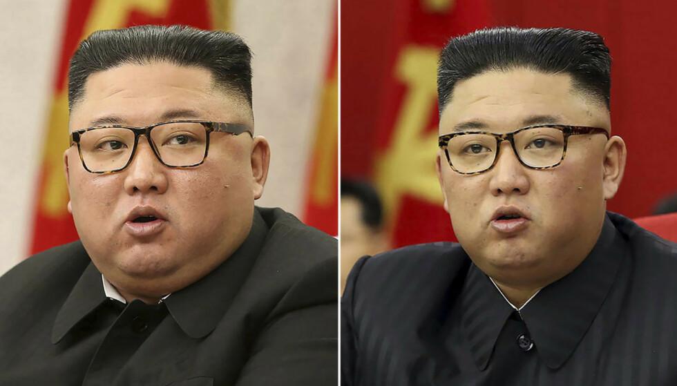 VOOR: Deze twee foto's laten zien hoe de Noord-Koreaanse leider Kim Jong Un eruit zag in februari 2021 (links) en hoe hij eruit zag in juni 2021. Foto: KCNA/Korean News Service via AP/NTB.