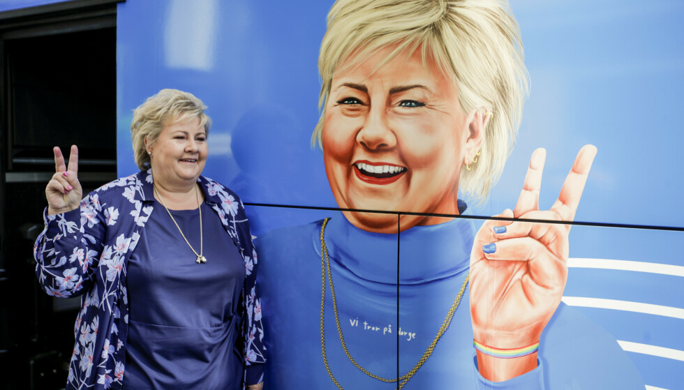 OPP OG UT: Erna Solberg (H) og resten av regjeringen kan være på vei ut av kontorene i en økonomisk oppgangstid. Foto: Hanna Johre / NTB