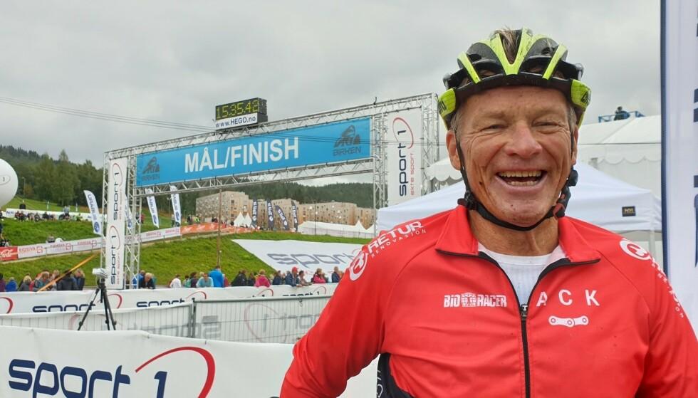 AKTIV SYKLIST: Frank Guneriussen har syklet aktivt siden 2012. Her etter målgang i Birkebeinerrittet. Foto: Privat