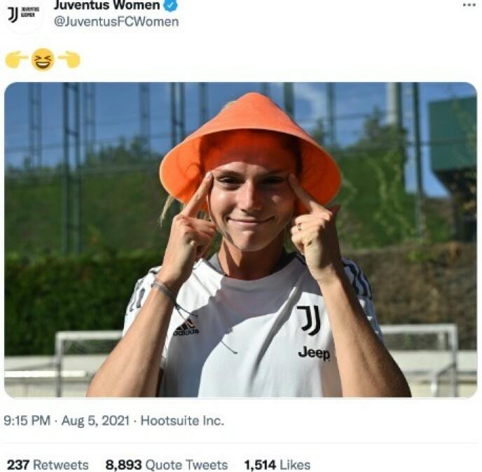 RASER: Twitter raser mot Juventus. Foto: Skjermdump Juventus Women