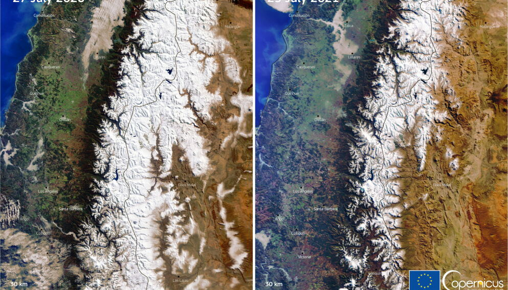 HISTORISK: Andes, Sør-Amerikas høyeste fjellkjede, er rammet av historisk lave snømengder. En sammenlikning av satellittbildene fra juli 2020 og juli 2021 viser en dramatisk forskjell på bare ett år. Foto: DG DEFIS / Handout / NTB