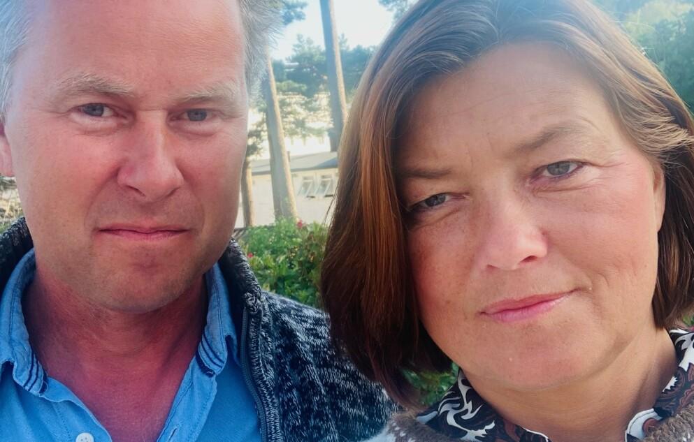 SKUMMELT: Ekteparet Runar og Ingvild Aune Steen, fra Sarpsborg, har hytte på Blefjell. De var på tur ved Lifanten da Runar fikk en allergisk reaksjon på vepsestikk. Foto: Privat.