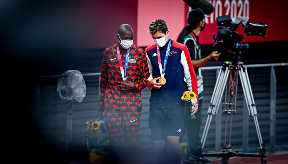 OLYMPISK MESTER: Jakob Ingebrigtsen (20) slo Timothy Cheruiyot (25) og ble olympisk mester. Foto: Bjørn Langsem / Dagbladet