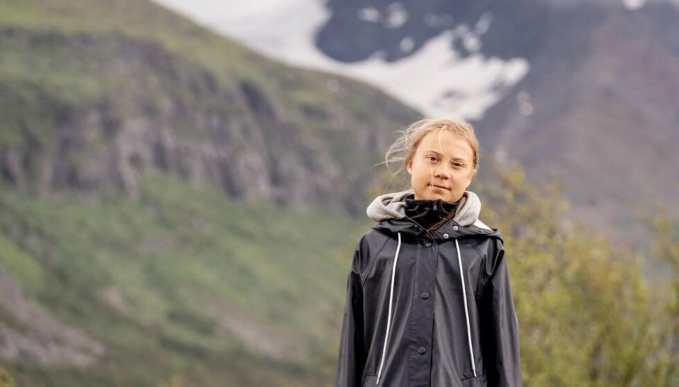 VOGUE-MODELL: Greta Thunberg er noe overraskende den første forsidemodellen til nylanserte Vogue Scandinavia. Foto: Carl-Johan UTSI / TT News Agency / AFP / NTB
