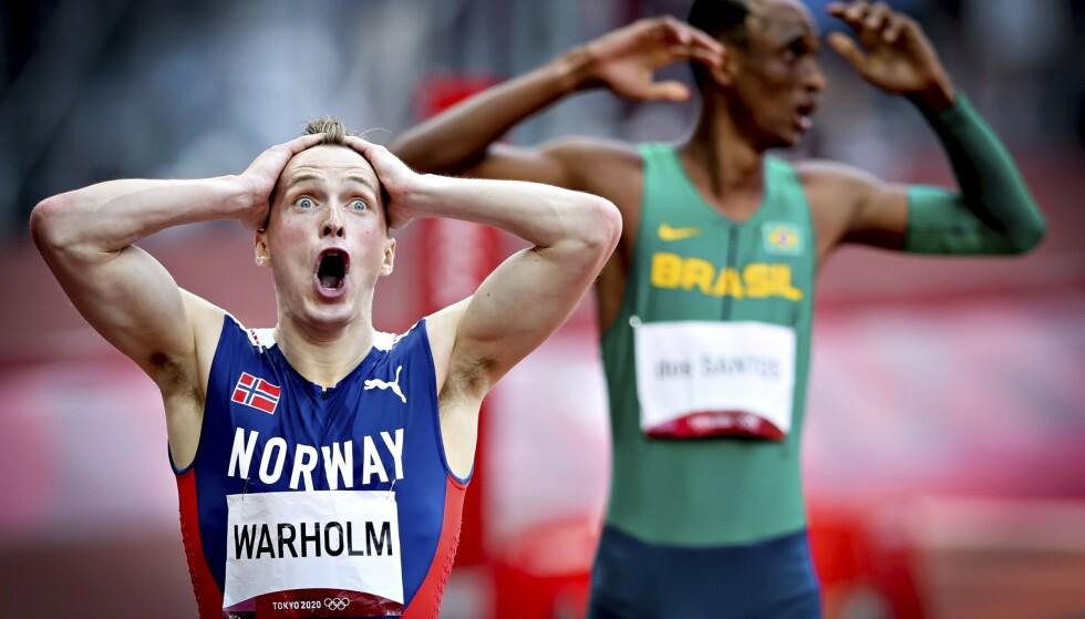 TERNINGKAST SEKS: Karsten Warholm får toppkarakter etter gull og verdensrekord på 400 meter hekk. Foto: Bjørn Langsem