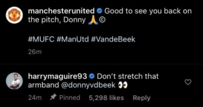 FLEIPER: Harry Maguire tuller med Donny van de Beek på sosiale medier. Foto: Instagram/Skjermbilde