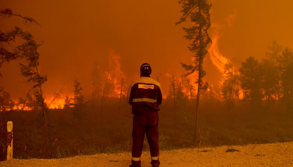 KJEMPER: Over 170 skogbranner herjer i Russland. Foto: Ivan Nikiforov / AP / NTB